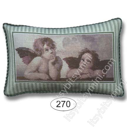 Pillow - Cherubs - Green Stripe - Click Image to Close