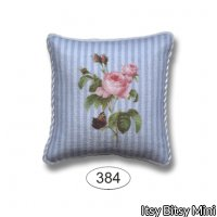Pillow - Botanical Rose on Blue Stripe