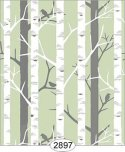 Wallpaper Birch Tree Green Mint