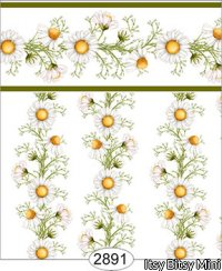 Wallpaper - Daisy Green Border - Vine White
