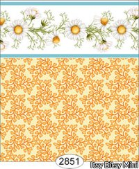 Wallpaper - Daisy Blue Border - Leaves Yellow