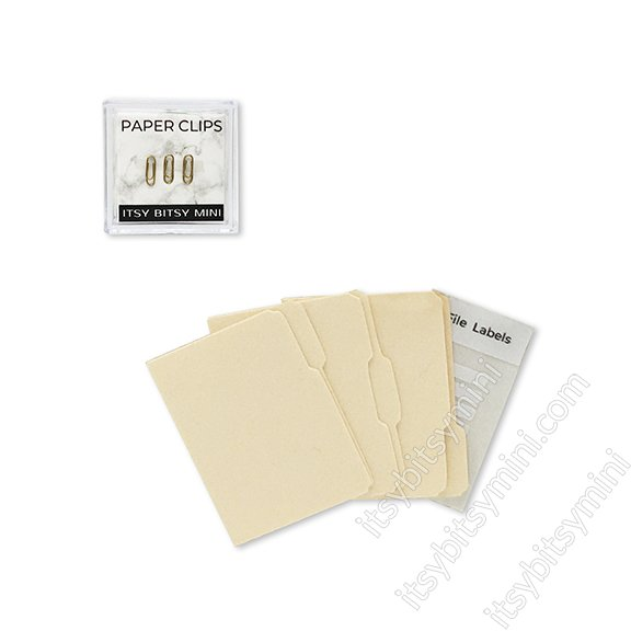 3 tab Manila Office File Folder & Paper Clips - Click Image to Close