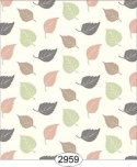 Wallpaper Birch Leaf Toss Brown Peach Green