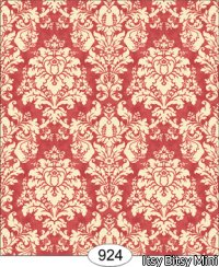 Wallpaper - French Damask - Red Coral