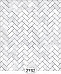 Wallpaper - Carrara Marble Herringbone Tile - White Small