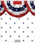 Wallpaper - Blue Stars on White with Bunting Border