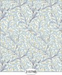 Jolie Willow Blue with Purple Plum Wallpaper No Border