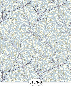 Jolie Willow Blue with Purple Plum Wallpaper No Border - Click Image to Close