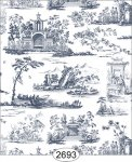 Wallpaper Rose Hill Toile Blue on White