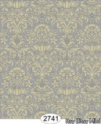 Wallpaper - Annabelle Mini Damask Black with Cream
