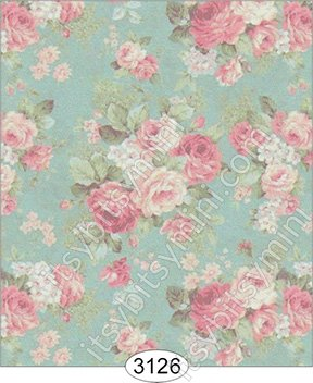 Wallpaper - Roses on Teal Background - Click Image to Close
