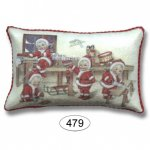 Pillow - Christmas Santa Babies in Workshop