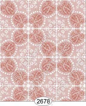 Wallpaper Rose Hill Tile Peach - Click Image to Close