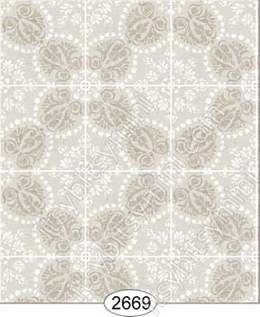 Wallpaper Rose Hill Tile Grey Beige - Click Image to Close