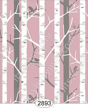 Wallpaper Birch Tree Pink Rose - Click Image to Close