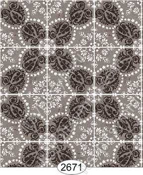 Wallpaper Rose Hill Tile Brown - Click Image to Close