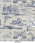 Wallpaper Rose Hill Toile Navy on Grey Beige