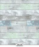 Wallpaper - Reclaimed Wood Floor - Blue Green on Grey