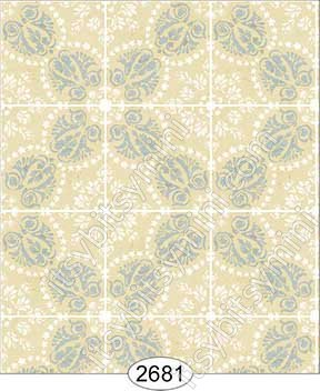 Wallpaper Rose Hill Tile Blue on Cream - Click Image to Close