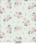 Wallpaper Rose Hill Small Floral Peach on Aqua