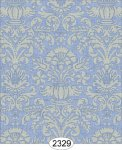 Wallpaper - Annabelle Damask Blue Serenity with Cream