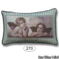 Pillow - Cherubs - Green Stripe
