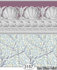 Jolie Willow Blue with Purple Plum Wallpaper