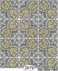 Wallpaper Rose Hill Tile Yellow on Black