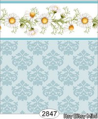 Wallpaper - Daisy Blue Border - Damask