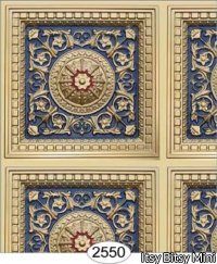Rosette Panel Paper Copper Navy Blue
