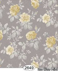 Wallpaper Rose Hill Floral Yellow on Grey Beige