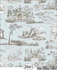 Wallpaper Rose Hill Toile Grey on Aqua