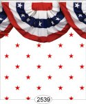 Wallpaper - Red Stars on White with Bunting Border