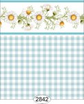 Wallpaper - Daisy Blue Border - Check