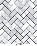 Wallpaper - Carrara Marble Herringbone Tile - Light Gray Large