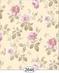 Wallpaper Rose Hill Floral Pink on Creamy Yellow