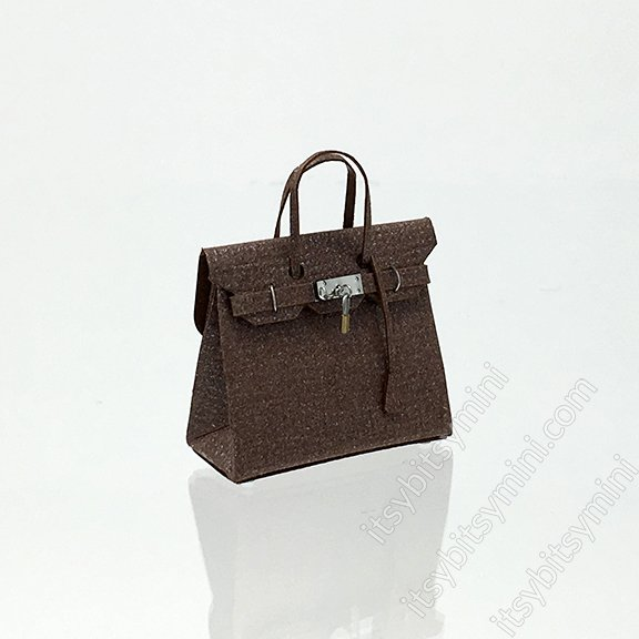 Birkli Dollhouse Handbag Purse Brown Espresso - Click Image to Close