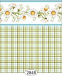 Wallpaper - Daisy Blue Border - Plaid