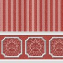Wallpaper - Annabelle Wainscot Mural Red