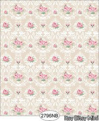 Wallpaper - Daniella Floral Damask - Beige No Border