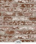 Wallpaper - Distressed Brick - Red