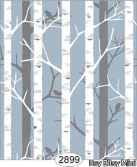 Wallpaper Birch Tree Blue
