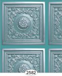 Rosette Panel Paper Silver with Aqua Blue