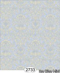 Wallpaper - Annabelle Mini Damask Blue Serenity with Cream