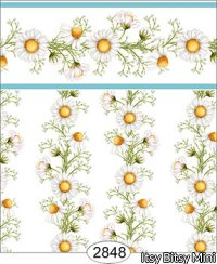 Wallpaper - Daisy Blue Border - Vine White