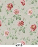 Wallpaper Rose Hill Floral Red on Dusty Green