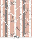 Wallpaper Birch Tree Orange Peach