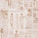 Wallpaper - Victorian Advertisement Beige - Newspaper NO BORDER