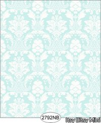 Wallpaper - Daniella Damask - Blue No Border