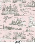 Wallpaper Rose Hill Toile Grey on Pink